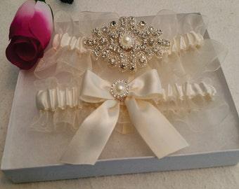 Organza/Lace garter set, Pearl Rhinestone Applique, bow satin, Wedding garter, Bridal garter, Prom garter, Custom garter set