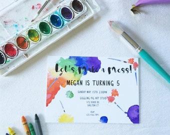 Art Birthday Party Invitation // Printable Birthday Invitation, DIY Kids Invitation Template