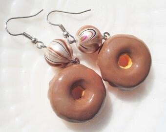 CHOCOLATE DOUGHNUT EARRINGS,Novelty Earrings,Food Earrings,Food Jewelry,Kawaii Jewelry,Gift for Girl,Gift for Teen or Tween,Gift for Baker