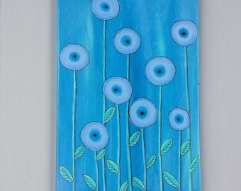 Abstract Flower Art on Wood Panel - Wall Art - Home Decor Wall Art - Flower Wall Decor - Girls Room - Nursery Art