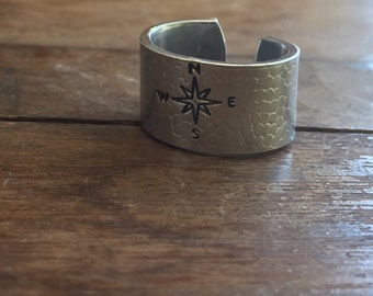 "Compass - 1/2"" Single Wrap Ring Pebbled Texture Artisan Handmade Custom Jewelry Sizes 3-14 Copper Brass Silver Aluminum"
