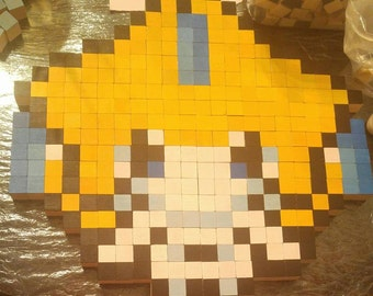 Jirachi Pokemon Wooden 8 Bit Art