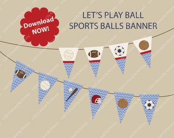 Sports Baby Shower Banner - Baby Name Banner -U Print FULL ALPHABET- Baby Banner- Sports Balls -M2M Let's Play Ball Invite Baseball Football