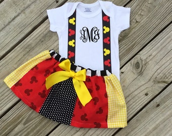 Girl's Mickey Mouse Birthday Onesie and Skirt Set