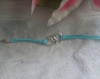 Teal two hearts friendship bracelet