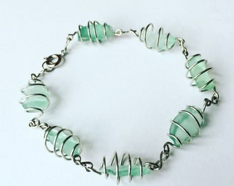 Spiral Seaglass Wrapped Bracelet