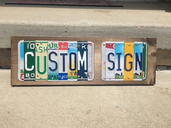 Custom License Plate Signs Personalized gift Custom Gifts