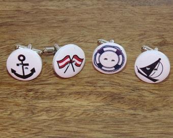 Nautical Button Cufflinks, Button Cufflinks, Nautical cufflinks, colourful cufflinks