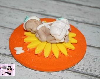 1x Cute Baby Girl Fondant Edible Cake Cupcake Topper 2-3 inch base