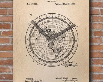 Time Chart Patent Print, Marine Navigation, Nautical Poster, Marine Sailing Print, Sailboat Wall Decor - DA0671