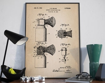Shaving Brush Patent, Shaving Patent, Men's Bathroom Art, Men's Bathroom Wall Art, Razor Patent, Home Decor - DA0214