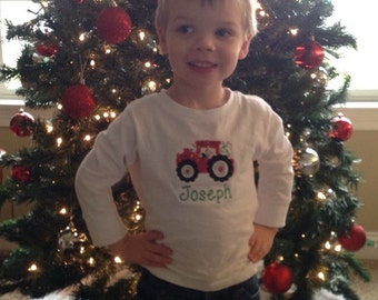 Christmas lights on tractor personalized onesie