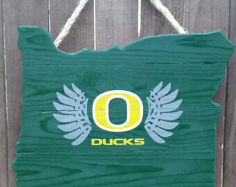 Rustic University of Oregon - Oregon Shaped Door/Wall Hanging