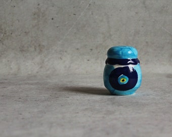 Vintage salt shaker, blue salt shaker, ceramic salt shaker