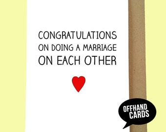 Funny Wedding Card, Wedding Congratulations Card, Marriage Card, Wedding Humour Card, Cute Wedding Card. Blank Inside.