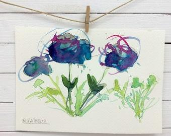 Handmade Postard - Original Watercolor Painting - Unique Art Gift - Flower Art - Original Handmade Present - Blue Magenta Green