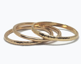 Set of Three (3) Stacking Rings - 14k Recycled Gold