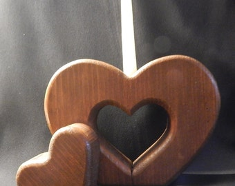 Vintage Wooden Country Heart Candle Holder with Hand Dipped Candle Included