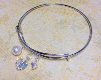 Crystal Bangle, Adjustable Bangle, Silver Bangle, Expandable Bangle, Bridal Gift, Crystal Jewelry.