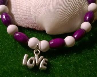 Charm Bracelet~ purple & white~ silver LOVE