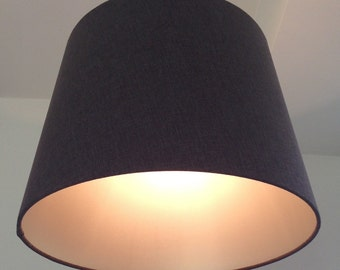 Charcoal conical 45 x 35 cm handmade fabric lampshade with a champagne lining