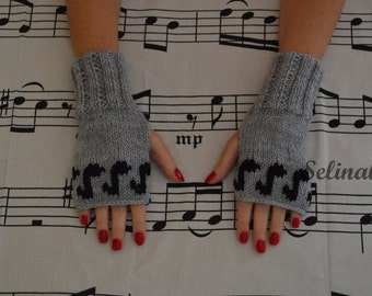 Knit Music Notes Fingerless Gloves Grey Mittens Hand Wrist Warmers
