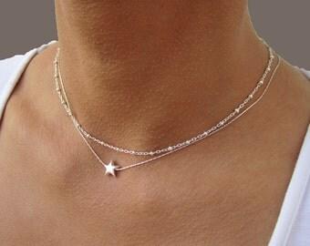 Star Necklace, Satellite Necklace, Layered Necklace, Sterling Silver Necklace, Everyday Necklace, Satellite Chain Necklace, Silver Star.