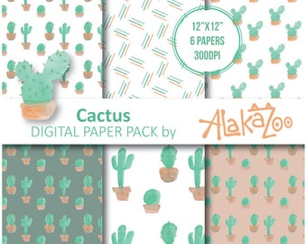 Cactus, Digital Paper, Printable, Scrapbooking, 12x12inch, Background, Pattern, Instant Download.