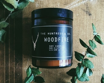 Woodfire Soy Candle in Amber Jar
