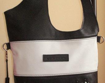 Leather bag black, black/white  handbag, Leather Tote Bag, Shoulder Bag, Shopping Bag, cross body bag