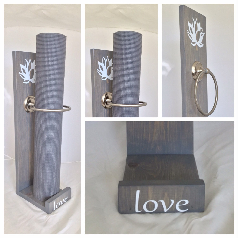 Grey Yoga Mat Holder Handmade Vertical Yoga Mat Holder Grey