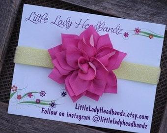 Pink and yellow headband glitter headband -  raspberry pink headband cloth dahlia flower headband - infant toddler headband