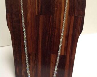 Vintage Flapper-Style Aurora Borealis Crystal Bead Necklace