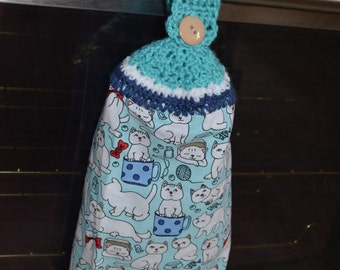 Cat Crochet Kitchen Towel
