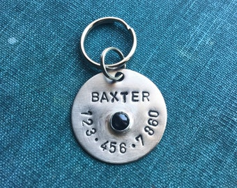 Gemstone Pet Tag // Personalized + Custom // Hand-stamped