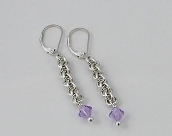 Swarovski Crystal Earrings, Sterling Silver Earrings, Violet Swarovski Crystal, Jens Pind Chainmaille Earrings, Swarovski Earrings