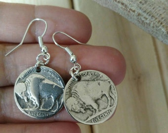 Coin earrings - Buffalo Coin Earrings - Indian Head Coin Jewelry - Nickel Coin Earrings - USA Coin Earrings - Vintage Coins Jewelry - Gift