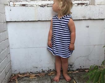 Hoodie Dress (Sleeveless) - Navy and White Stripe - READY TO SHIP by Little Dreamer