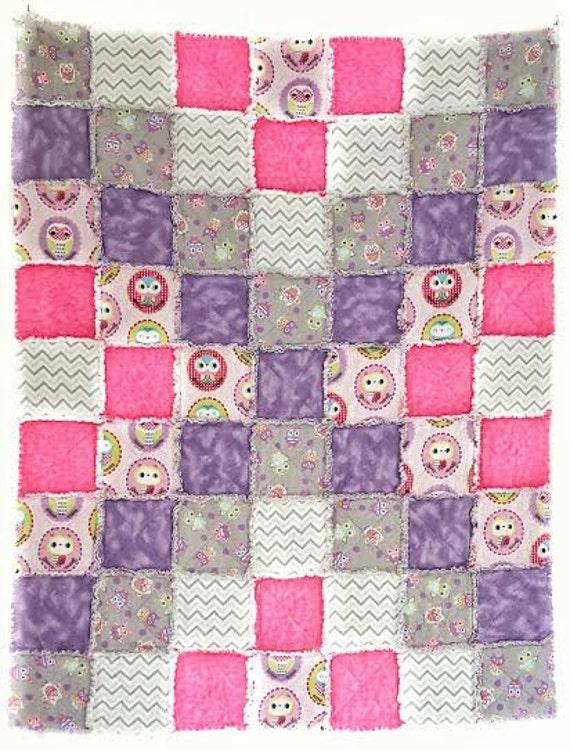 Rag Quilt Owl Pattern : Owl Rag Quilt Patchwork Quilt Handmade Quilt Nursery