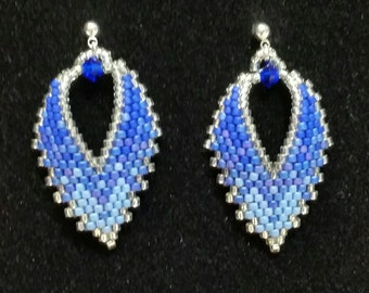 Russian Leaf Earrings in Shades of Blue