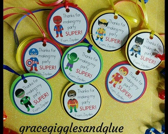 12 Superhero Favor Tags w/ cello bags