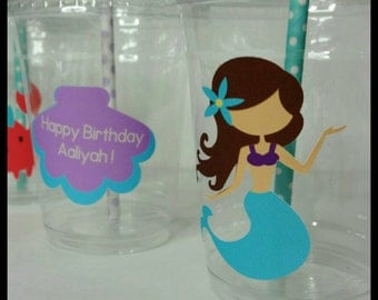 12 Mermaid Themed Party Cups with Lids and Striped Straws, Under the Sea Party Cups