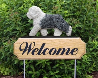 Old English Sheepdog Welcome Garden Stake