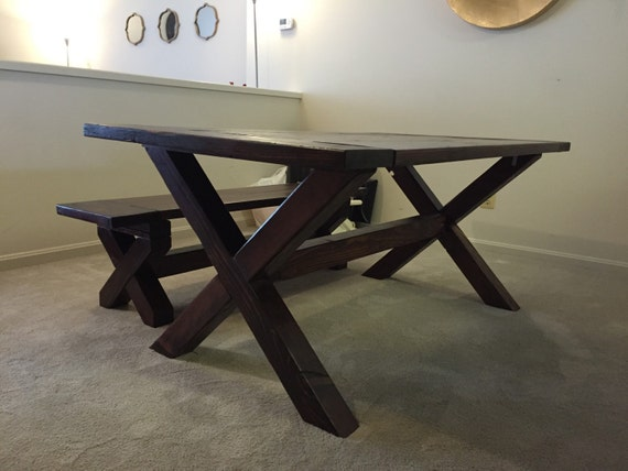 brace trestle dining room table