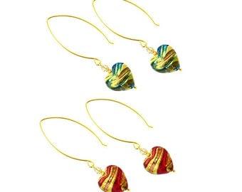 Murano Glass Heart Earrings from Mystery of Venice, Murano Glass Earrings, Murano Glass Jewelry, Heart Earrings, Red Heart, Venetian Jewelry