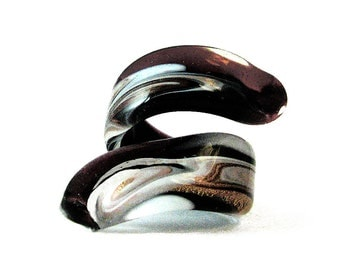 Murano Glass Ring by Mystery of Venice 'Black White Serpent', Murano Glass Ring, Serpent Ring, Snake Ring, Murano Glass Jewelry, Glass Ring