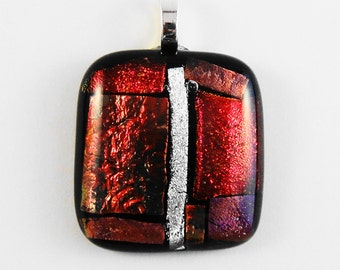 Dichroic Glass Pendant with Luscious Red Color