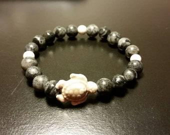 Turtle stone bracelet 8mm beads