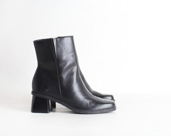 Women's Size 5.5 Black Leather Ankle Boots, High Heel Dress Boots, Chunky Heel