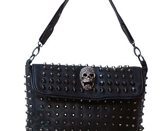 Gothic double flap with rivets and skull handbag...
